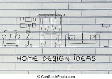 otthon, tervezés, gondolat, és, meglegyintés
