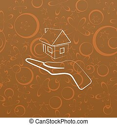 otthon, vektor, áttekintés, ikon, kéz