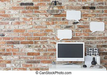 otthon, workspace, noha, kicsi, íróasztal