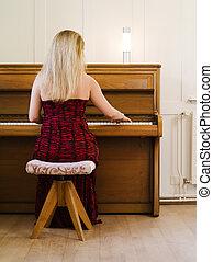 otthon, zongora, nő, játék, szőke