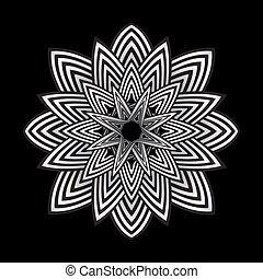ottico, astratto, illustrazione, strisce, arte, fiore