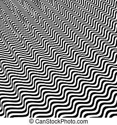 ottico, astratto, nero, strisce, fondo., art., bianco