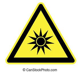 ottico, avvertimento, radiazione, giallo