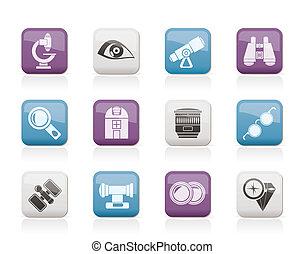 ottico, icone, apparecchiatura, lente