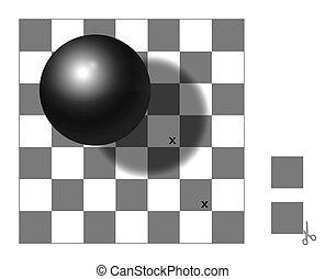 ottico, scacchiera, illusione, uggia, scacchiera
