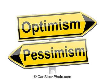 ottimismo, direzionale, -, pessimismo, frecce, giallo, ...
