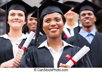 ottimistico, giovane, università, laureati