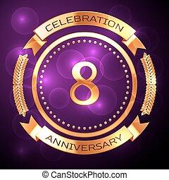 otto, anni, celebrazione anniversario, con, dorato, anello, e, nastro, su, viola, fondo.