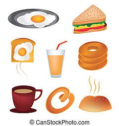 otto, icone, per, colazione