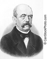 Otto von Bismarck (1815-1898) on engraving from the 1800s. Prussian German statesman and aristocrat. Published in London by J.Haccer, 67, Paternoster Row.
