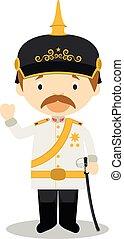Otto von Bismarck cartoon character. Vector Illustration.