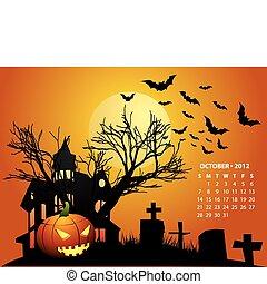 ottobre, calendario, 2012