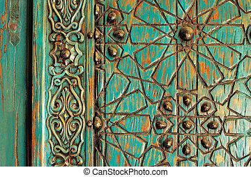 ottoman, ancien, porte, détail