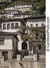 ottoman architecture view in historic berat old town albania
