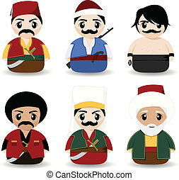 ottoman, dessin animé, gens