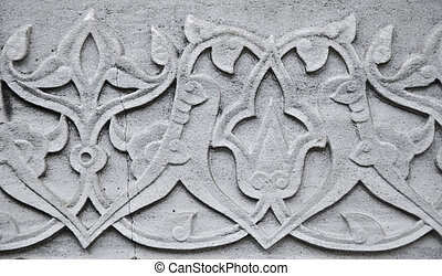 Ottoman Marble Carving - Close up of a marble carving in...