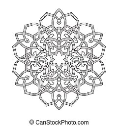 ottoman, ornement, rond