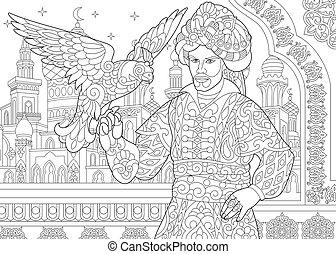 Ottoman sultan with falcon - Ottoman sultan and falcon bird...