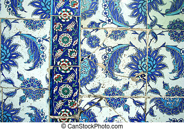 ottoman tiles as background - Seamless blue color ottoman...