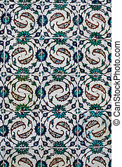 Authentic Ottoman, Turkish historic wall tile from Topkapi Palace in Istanbul