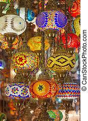 ottomano, bazar, lampade, mosaico, grande