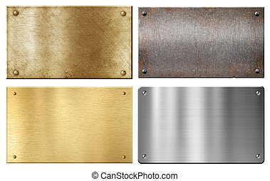 ottone, acciaio, alluminio, metallo, piastre, set, isolato, bianco