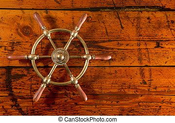 ottone, legno, textured, ruota, nave
