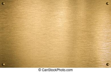ottone, o, oro, piastra metallo, con, quattro, chiodi