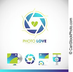 otturatore, apertura, fotografia, logotipo