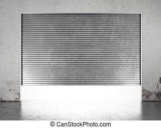 otturatore, porta, illuminare, riflettore, rullo