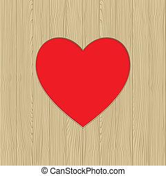otwór, w, sercowa forma, na, drewniana budowa