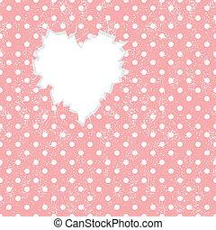 otwór, w, sercowa forma, na, kropka polki, tło