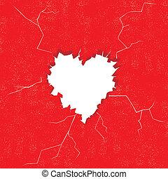 otwór, w, sercowa forma, na, przedimek określony przed rzeczownikami, wall., wektor