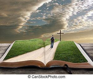 otwarta biblia, z, człowiek, i, krzyż