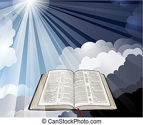 otwarta biblia, z, lekkie promienie