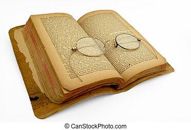 otwarta książka, z, antyki, złoty, monokle