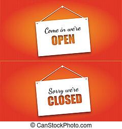 otwarte drzwi, deska, zamknięte oznakowanie