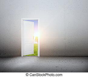 otwarte drzwi, do, niejaki, nowy, lepszy, świat, przedimek określony przed rzeczownikami, zielony, lato, krajobraz., konceptualny, nowy, droga, wejście, do, nowy świat, życie, hope.