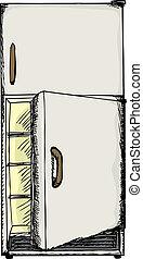 otwarte drzwi, lodówka