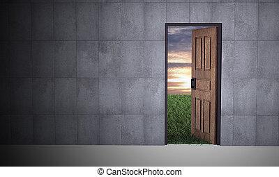 otwarty, życie, drzwi, nowy