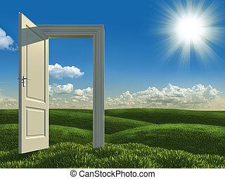 otwarty, biały, drzwi, łąki