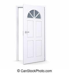 otwarty, biały, drzwi