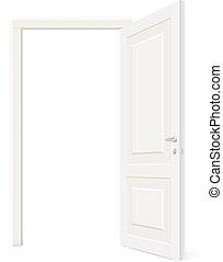otwarty, biały, drzwi, rzucić, odizolowany