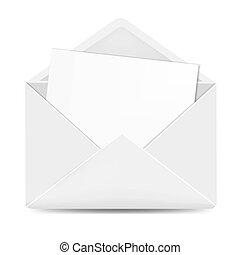 otwarty, biały, papier, koperta