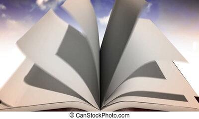 otwarty, concept., książka, kasownik