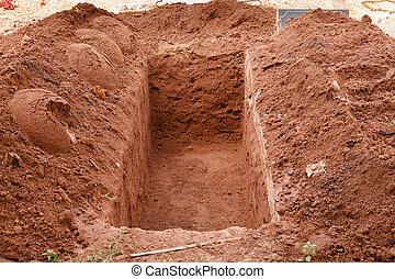otwarty, grób