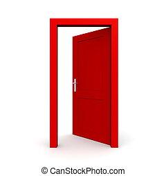 otwarty, jednorazowy, drzwi, czerwony