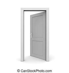 otwarty, jednorazowy, drzwi, szary