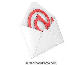 otwarty, koperta, e-poczta, znak