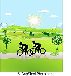 otwarty, krajobraz, bicycling
